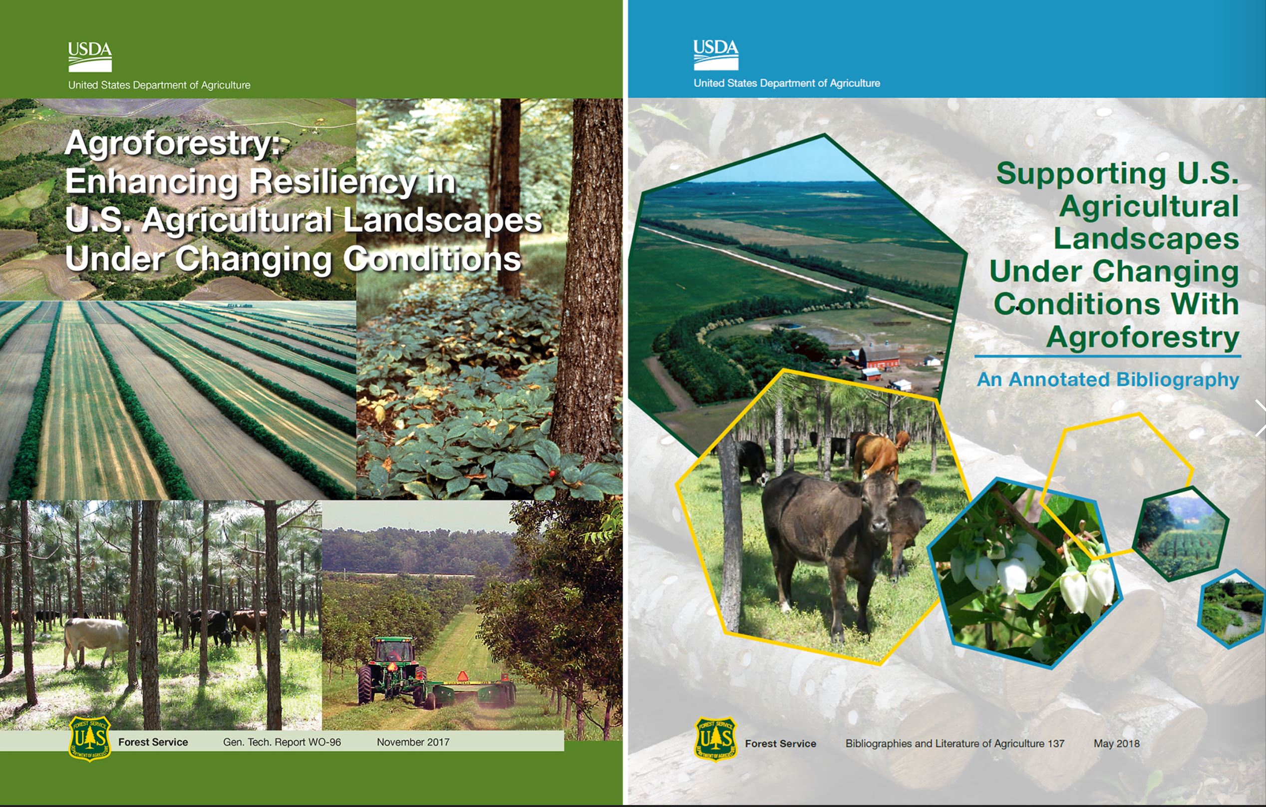 Figure 1. Title pages of the assessment report and annotated bibliography on agroforestry's role in mitigating and adapting to climate change.
